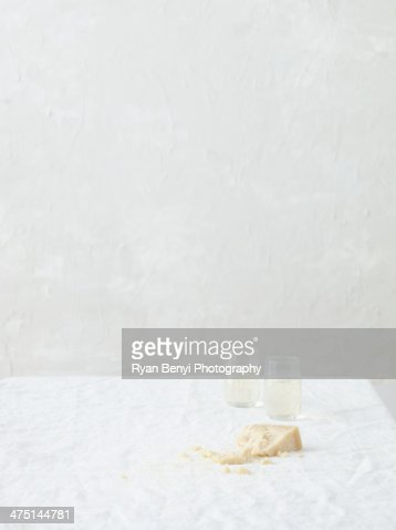Still life with parmesan and white wine