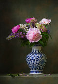 Still life with peonies in a chinese vase