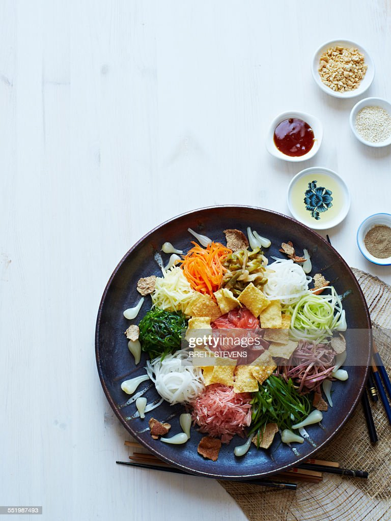 Still life with plate of yusheng