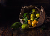 Yellow and Green Tangerines with Leaves in Paper Bundle
