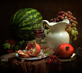Still life with watermelon and pomegranate