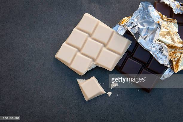 Still life with white and dark chocolate