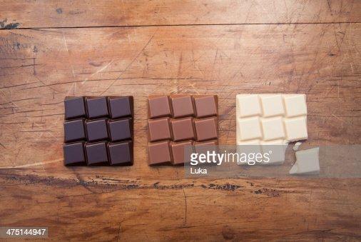 Still life with white, dark and milk chocolate