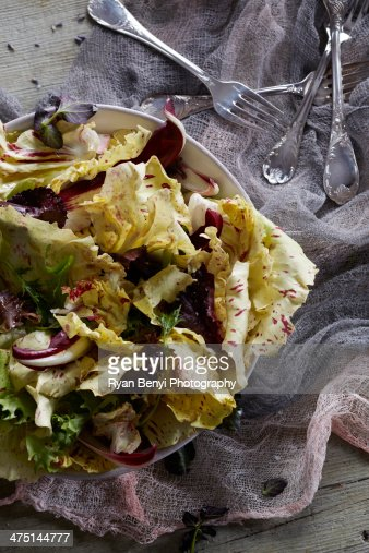 Still life with yellow radicchio salad