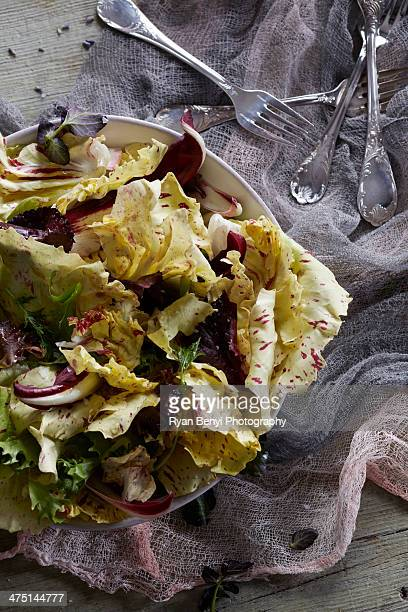 Still life with yellow radicchio salad