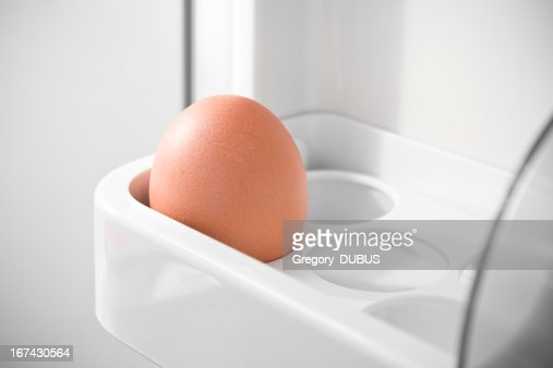 Ainda um único Ovo no frigorífico : Foto de stock
