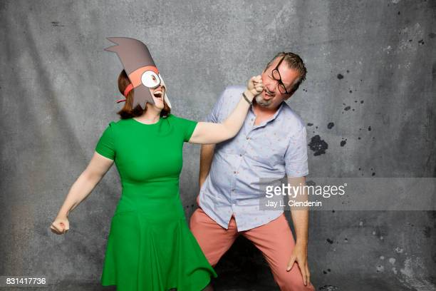 Still photographer Chris Haston and actress Kate Flannery are photographed in the LA Times photo studio at ComicCon 2017 in San Diego CA on July 21...