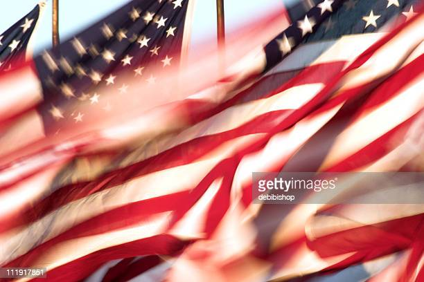 Still shot of American flags whipping in the wind