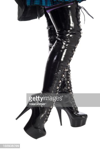 stilletto heel thighhigh boots stock photo getty images