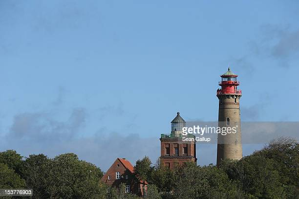 A stillfunctioning lighthouse stands at Cape Arkona on the Wittow peninsula of Ruegen Island on October 8 2012 near Putgarten Germany Ruegen is a...