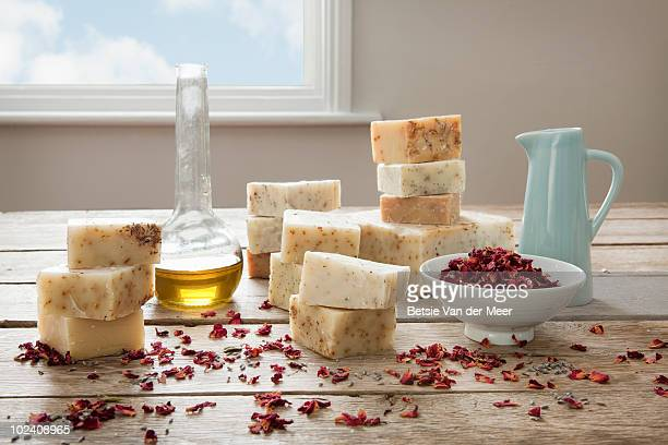 stilllief of homemade soaps, with ingredients