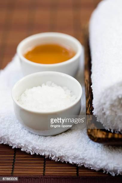 Still-life honey and salt