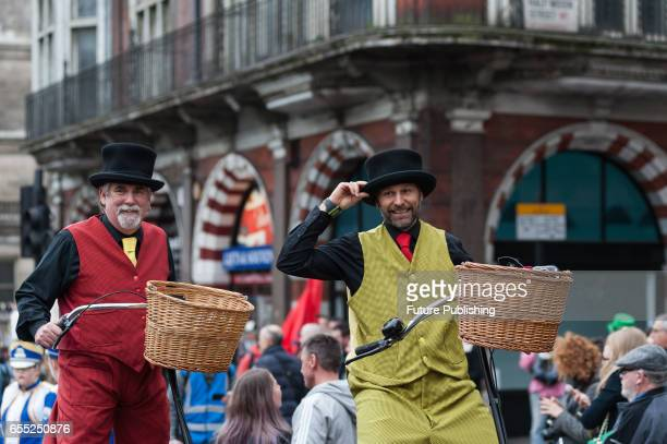 Stilt bikers take part in the annual St Patricks Day parade on March 19 2017 in London England Many London Irish communities performers and dance and...