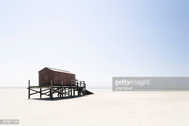 Stilt building on beach
