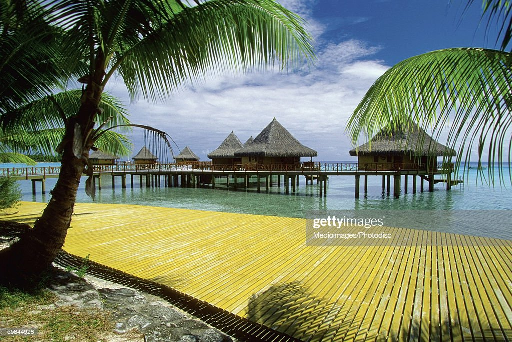 Stilt house on the beach, Rangiroa, French Polynesia : Stock Photo