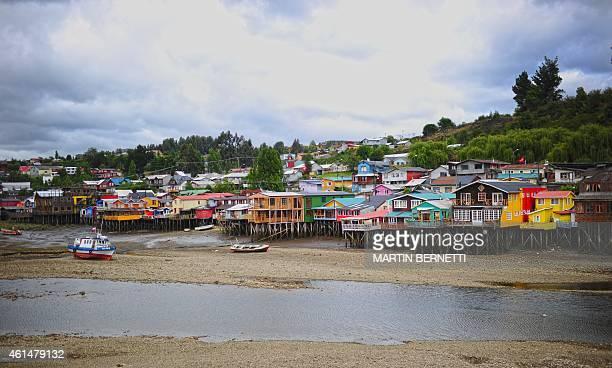 Stilt houses in Castro Isla Grande de Chiloe some 1150 km south of Santiago on January 11 2015 The Isla Grande de Chiloe the largest island of the...