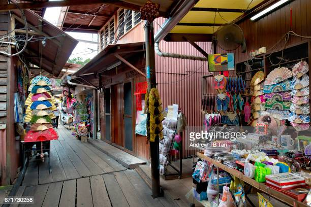 Stilt houses in Penang with shops selling souvenirs and knick knack