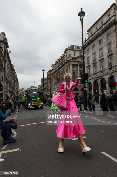 Stilt walker during the annual St Patricks Day parade on March 19 2017 in London England Many London Irish communities performers and dance and music...