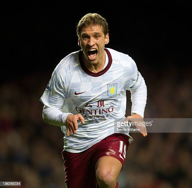 Stilyan Petrov of Aston Villa celebrates his goal during the Barclays Premier League match between Chelsea and Aston Villa at Stamford Bridge on...
