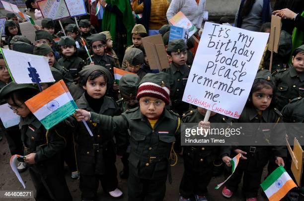 Stimulus Pre School children celebrated the forgotten national hero Netaji Subhash Chandra Bose's 118th birthday at Sector 39 on January 23 2014 in...