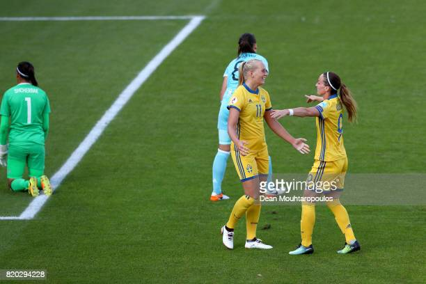 Stina Blackstenius of Sweden celebrate with team mate Kosovare Asllani after she scores the 2nd goal during the Group B match between Sweden and...