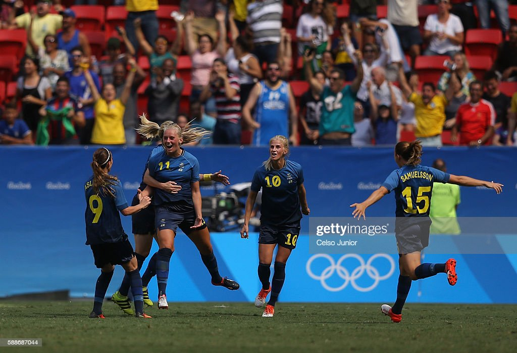Stina Blackstenius of Sweden celebrates her goal in the second half against the United States during the Women's Football Quarterfinal match at Mane...