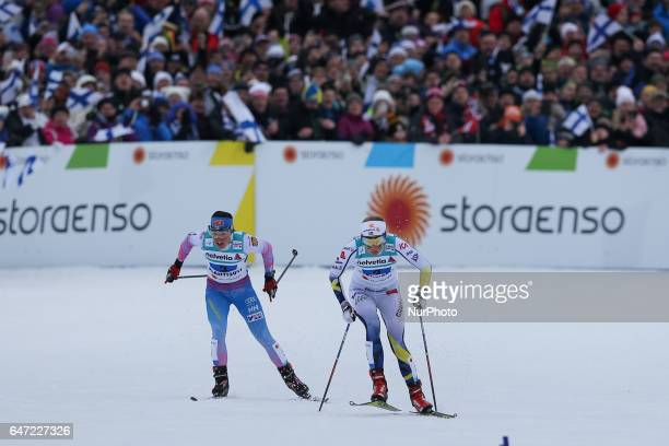 Stina Nilsson Krista Parmakoski compete during the Women's Cross Country 4x5km Relay at the FIS Nordic World Ski Championships on March 2 2017 in...