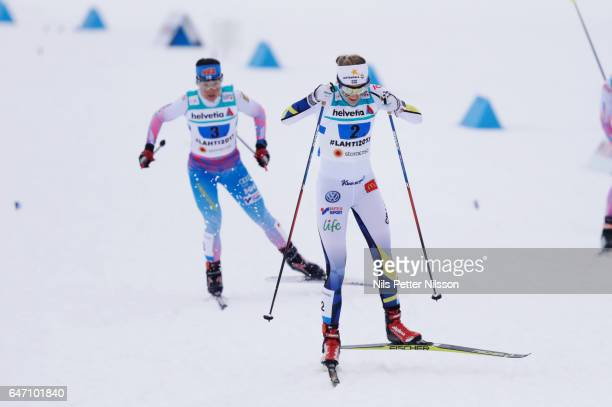 Stina Nilsson of Sweden and Krista Parmakoski of Finland during the women's cross country relay during the FIS Nordic World Ski Championships on...