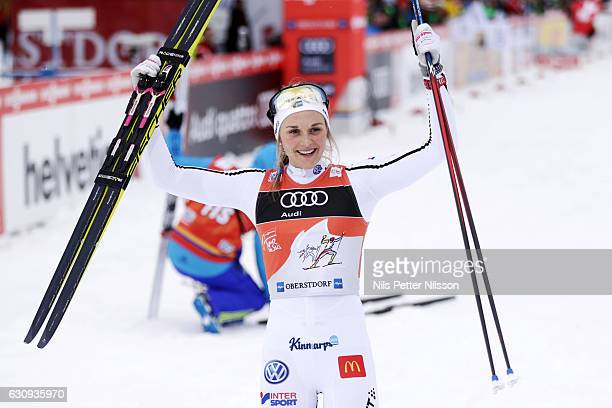 Stina Nilsson of Sweden celebrates after the victory during the women's 10 km F Pursuit on January 4 2017 in Oberstdorf Germany