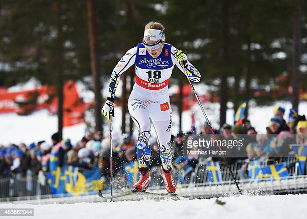 Stina Nilsson of Sweden competes during the Women's CrossCountry Sprint Qualification during the FIS Nordic World Ski Championships at the Lugnet...