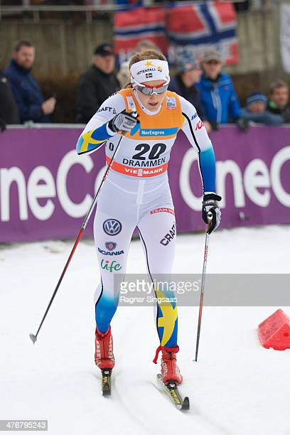 Stina Nilsson of Sweden competes in the Women's 13km Qualification Classic Sprint at the Viessmann FIS Cross Country World Cup Classic event on March...