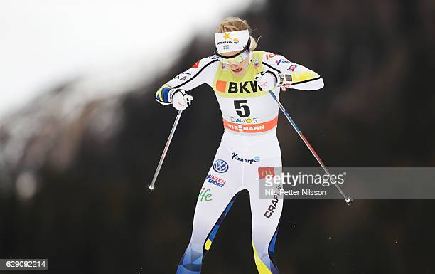 Stina Nilsson of Sweden during the Viessmann FIS Cross Country World Cup sprint qualification free technique on December 11 2016 in Davos Switzerland