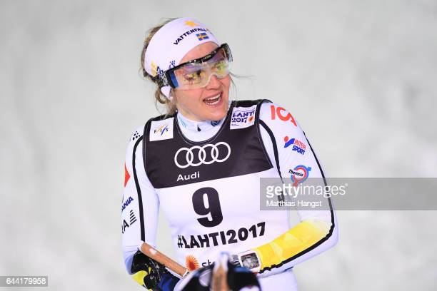 Stina Nilsson of Sweden reacts after competing in the Women's 14KM Cross Country Sprint first semi final during the FIS Nordic World Ski...