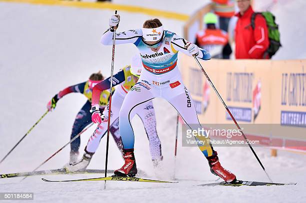Stina Nilsson of Sweden takes 1st place during the FIS Nordic World Cup Men's and Women's Cross Country Sprint on December 13 2015 in Davos...
