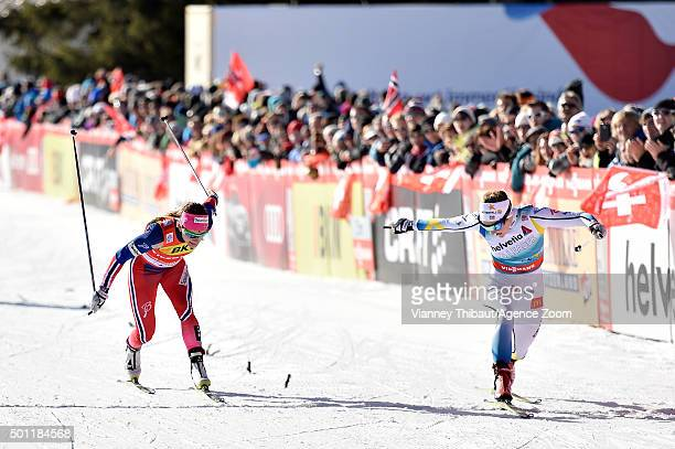 Stina Nilsson of Sweden takes 1st place Maiken Caspersen Falla of Norway takes 2nd place during the FIS Nordic World Cup Men's and Women's Cross...