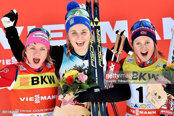 Stina Nilsson of Sweden takes 1st place Maiken Caspersen Falla of Norway takes 2nd place Ingvild Flugstad Oestberg of Norway takes 3rd place during...