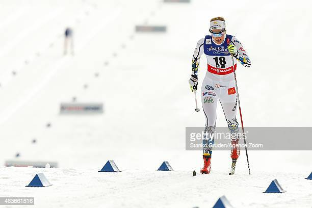 Stina Nilsson of Sweden takes 2nd place competes during the FIS Nordic World Ski Championships Women's CrossCountry Sprint on February 19 2015 in...