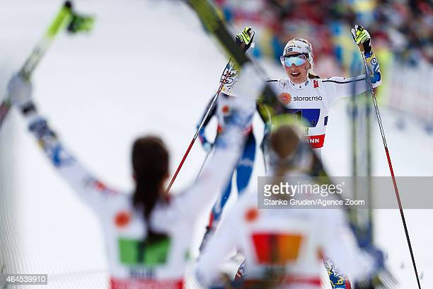 Stina Nilsson of Sweden takes 2nd place during the FIS Nordic World Ski Championships Women's CrossCountry Relay on February 26 2015 in Falun Sweden