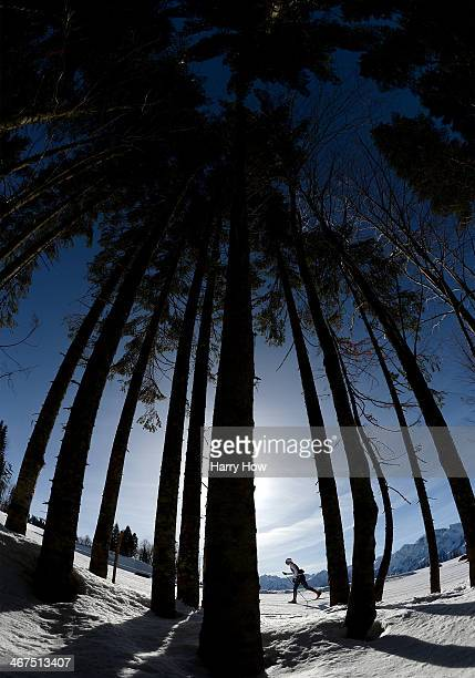 Stina Nilsson of Sweden trains ahead of the Sochi 2014 Winter Olympics at the Laura CrossCountry Ski and Biathlon Center on February 7 2014 in Sochi...