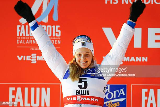 Stina Nilsson of Swedentakes 2nd place competes during the FIS Nordic World Ski Championships Women's CrossCountry Sprint on February 19 2015 in...
