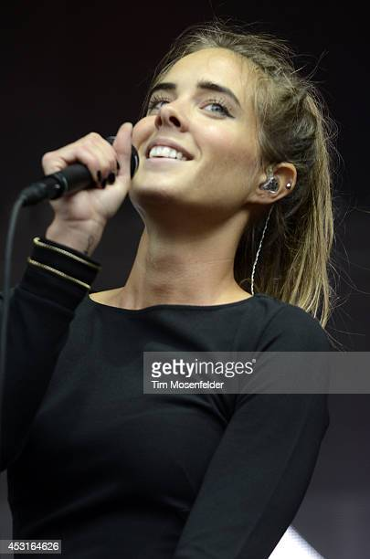 Stina Wappling of NONONO performs during 2014 Lollapalooza at Grant Park on August 3 2014 in Chicago Illinois