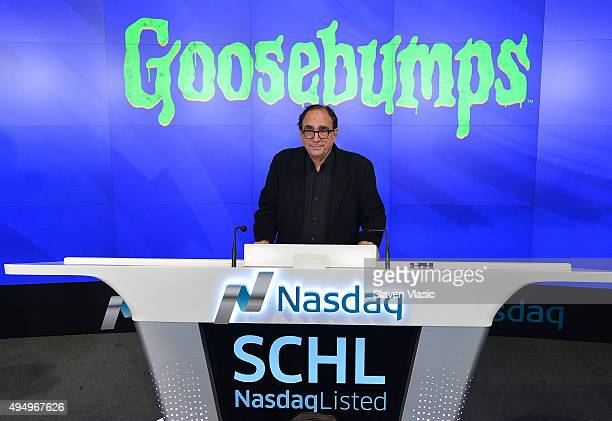 L Stine author of Goosebumps rings the NASDAQ Opening Bell in celebration of Halloween and 'Goosebumps' at NASDAQ on October 30 2015 in New York City