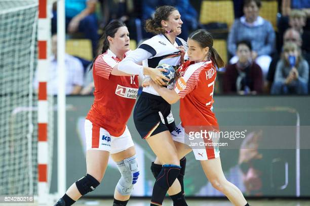 Stine Bodholt of Denmark and Mie Hojlund of Denmark defending during the international friendly match between Denmark and Germany at Ceres Arena on...
