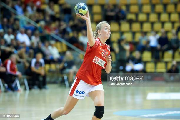 Stine Jorgensen of Denmark in action during the international friendly match between Denmark and Germany at Ceres Arena on June 08 2017 in Arhus...