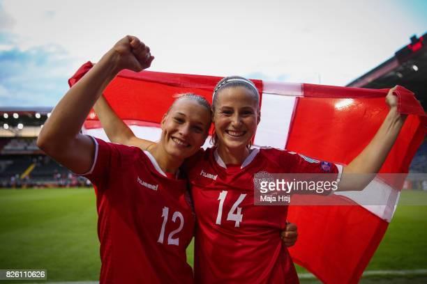 Stine Larsen of Denmark and Nicoline Sorensen of Denmark celebrate after the UEFA Women's Euro 2017 Semi Final match between Denmark and Austria at...