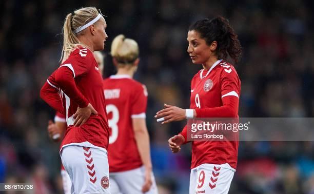 Stine Larsen speaks to Nadia Nadim of Denmark during the international friendly match between Denmark women and Finland women at Slagelse Stadion on...