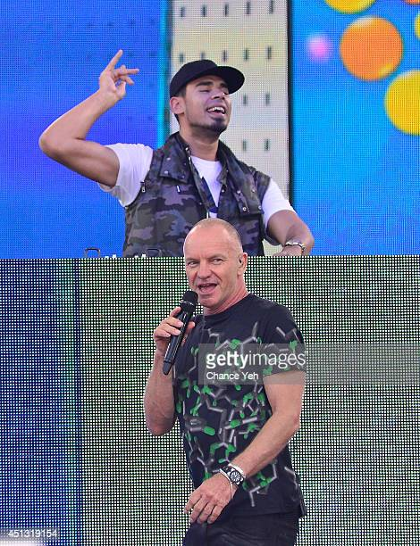 Sting and Afrojack perform on ABC's 'Good Morning America' at Rumsey Playfield on June 27 2014 in New York City