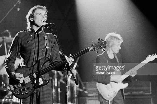Sting and Andy Summers performing with English new wave group The Police on the 'Don Kirshner's Rock Concert' TV show Los Angeles 6th February 1980