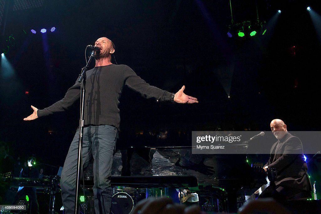 Sting L And Billy Joel Perform At Madison Square Garden On November 25 2014 In New York City