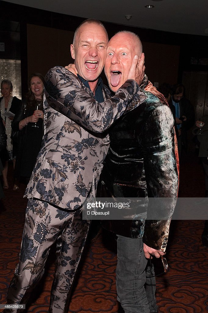 Sting (L) and guest attend the after party for the 25th Anniversary concert for the Rainforest Fund at the Mandarin Oriental Hotel on April 17, 2014 in New York City.